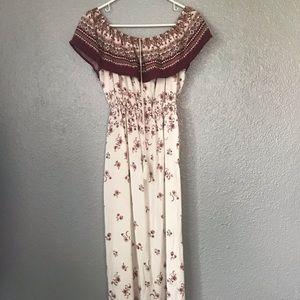 Iris OTS Floral Maxi Dress w/ Slits